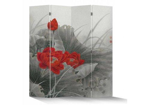 Fine Asianliving Fine Asianliving Chinees Kamerscherm Oosters Scheidingswand 4 Panelen Rode Lotus L160xH180cm