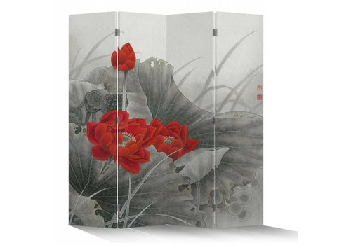 Fine Asianliving Fine Asianliving Kamerscherm Scheidingswand 4 Panelen Rode Lotus