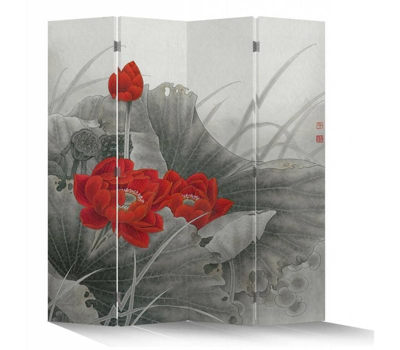 Fine Asianliving Chinees Kamerscherm Oosters Scheidingswand 4 Panelen Rode Lotus L160xH180cm