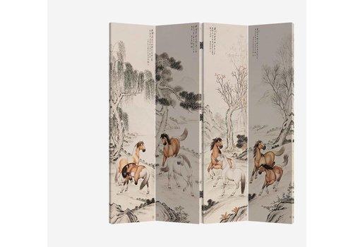 Fine Asianliving Chinees Kamerscherm 4 Panelen Paarden