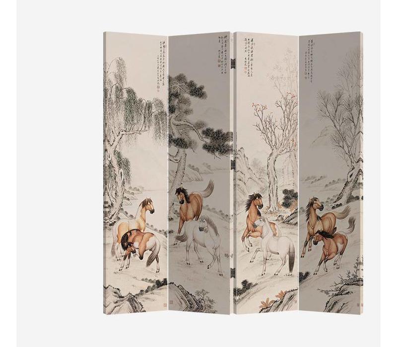 Chinees Kamerscherm 4 Panelen Paarden