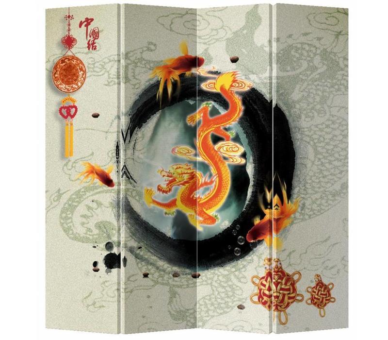 Fine Asianliving Chinees Kamerscherm Oosters Scheidingswand 4 Panelen Ouroboro L160xH180cm
