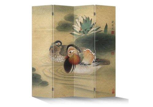 Fine Asianliving Paravent en Toile L160xH180cm 4 Panneaux Canard Mandarin