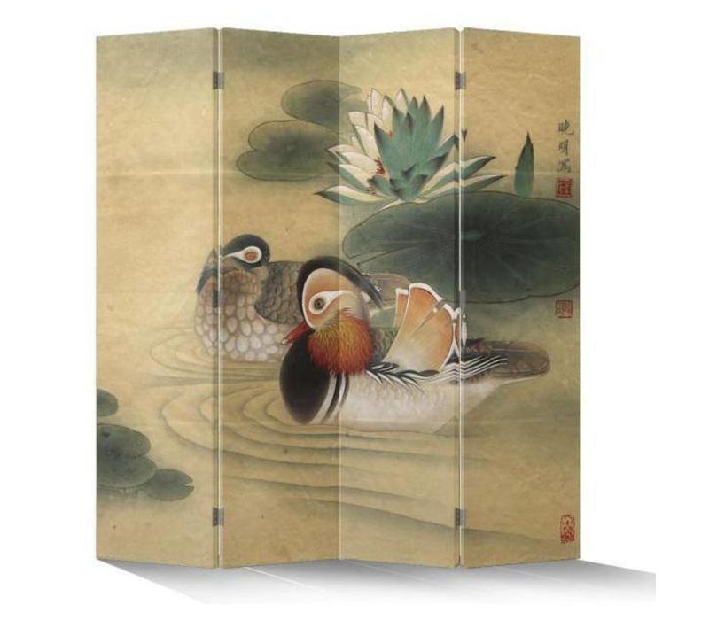 Fine Asianliving Chinees Kamerscherm Oosters Scheidingswand 4 Panelen Oosterse Eenden L160xH180cm