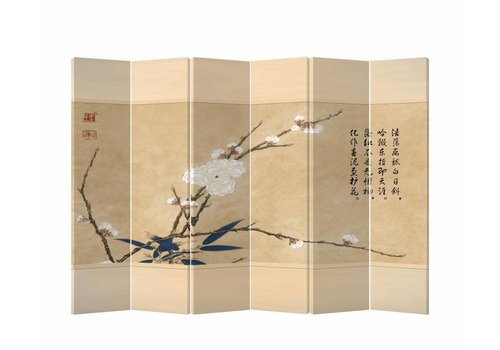 Fine Asianliving Fine Asianliving Chinese Oriental Room Divider Folding Privacy Screen 6 Panel White Flower L240xH180cm