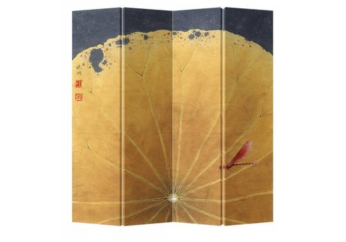 Fine Asianliving Chinesische Paravent Raumteiler B160xH180cm 4-teilig Goldenes Lotusblatt Libelle