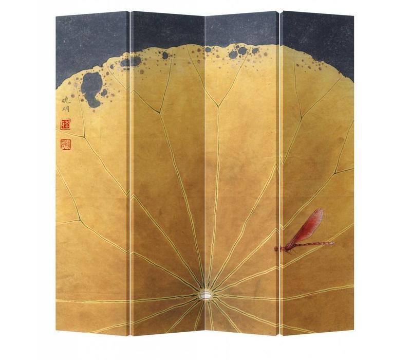 Fine Asianliving Chinees Kamerscherm Oosters Scheidingswand 4 Panelen Gouden Lotusblad met Libelle L160xH180cm