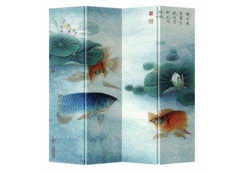 Fine Asianliving Paravent en Toile L160xH180cm 4 Panneaux Koi dans Étang de Lotus