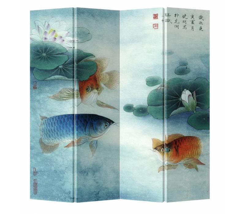 Fine Asianliving Chinees Kamerscherm Oosters Scheidingswand 4 Panelen Koi in Lotuspond L160xH180cm