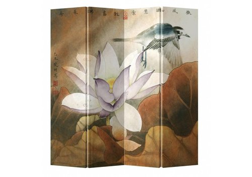 Fine Asianliving Fine Asianliving Chinese Oriental Room Divider Folding Privacy Screen 4 Panel Retro Lotus W160xH180cm