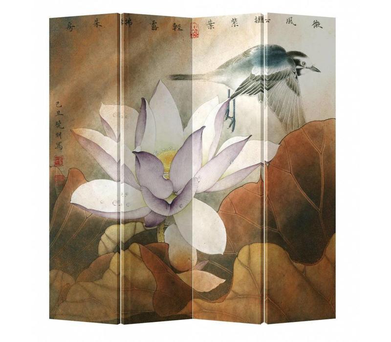 Chinees Kamerscherm 4 Panelen Lotusbloem met Vliegende Vogel
