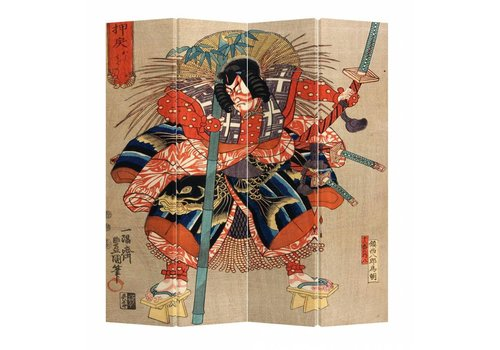 Fine Asianliving Japans Kamerscherm Oosters Scheidingswand 4 panelen Japanse Samurai Minamoto no Tametomo L160xH180cm