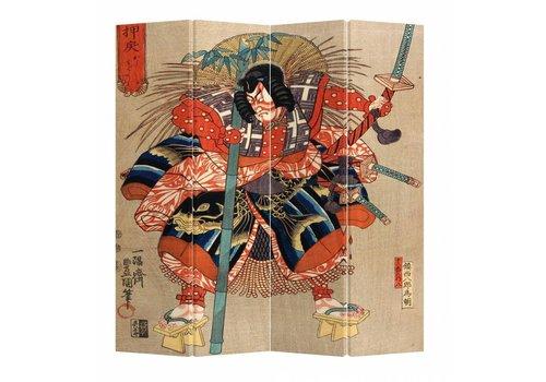 Fine Asianliving Paravento Divisori in Tela Giapponese L160xA180cm 4 Pannelli Samurai Minamoto no Tametomo