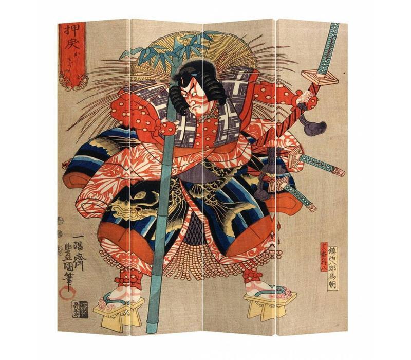 Oosters Kamerscherm 4 Panelen Japanse Samurai Minamoto no Tametomo