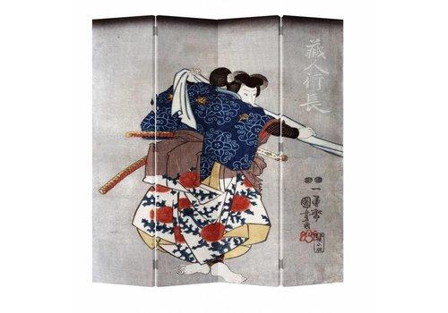 Fine Asianliving Fine Asianliving Japanese Oriental Room Divider Folding Privacy Screen 4 Panel Japanese Samurai L160xH180cm