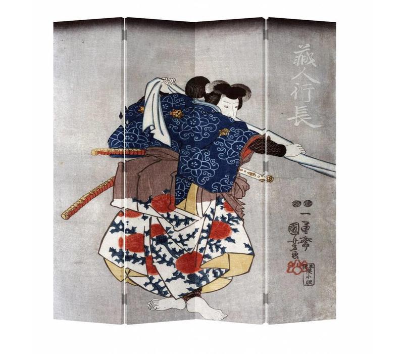Fine Asianliving Japans Kamerscherm Oosters Scheidingswand 4 Panelen Japanse Samurai L160xH180cm