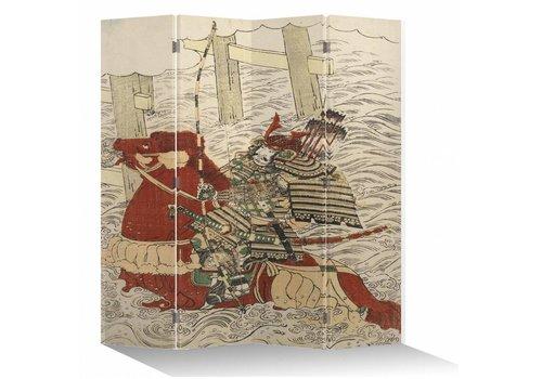 Fine Asianliving Paravento Divisori in Tela Giapponese L160xA180cm 4 Pannelli Samurai