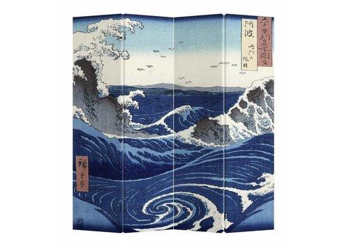 Fine Asianliving Paravent sur Toile 4 panneaux La Grande Vague de Kanagawa L160xH180cm