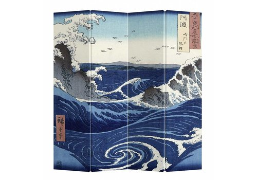 Fine Asianliving Room Divider Privacy Screen 4 Panel Japanese Kanagawa Nami W160xH180cm
