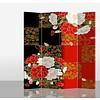 Fine Asianliving Biombo Separador de Lienzo Japonés A160xA180cm 4 Paneles Peonía Japonesa