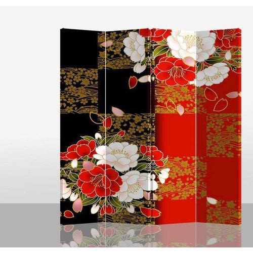 Oosters Kamerscherm 4 Panelen Japanse Pioen
