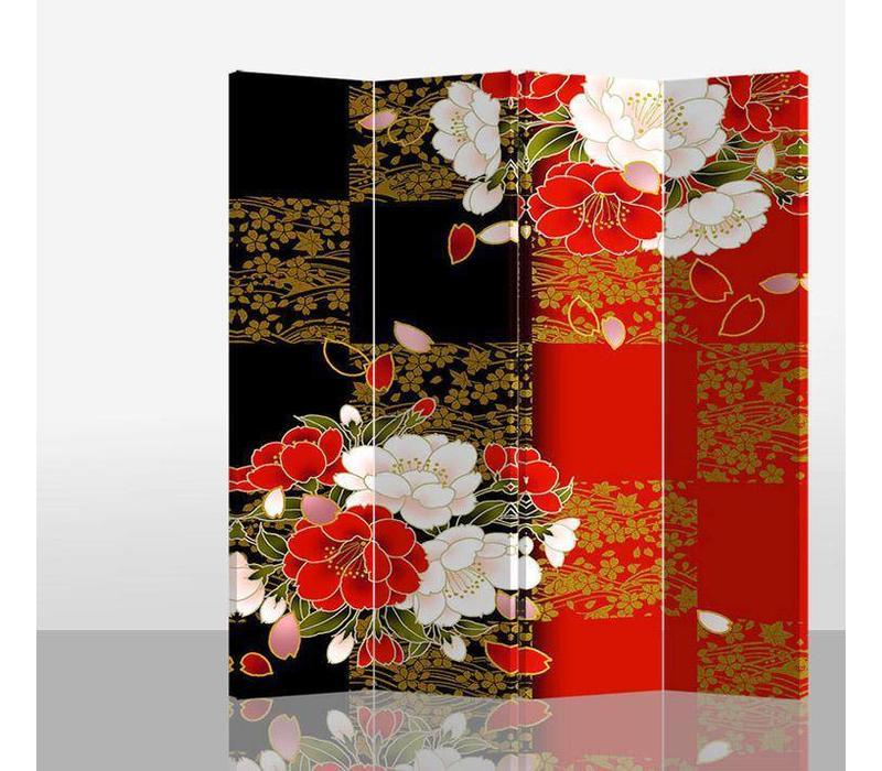 Oriental Room Divider 4 Panel Japanese Peony