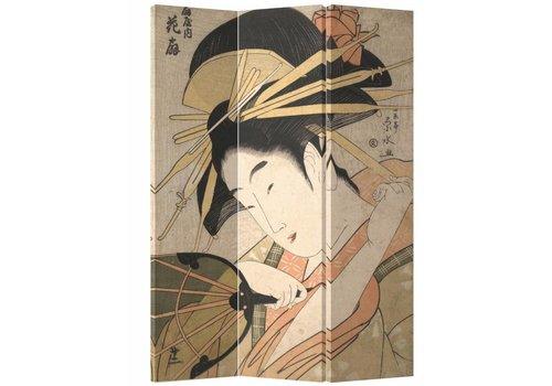 Fine Asianliving Paravent sur Toile 3 panneaux Femme Japonaise L120xH180cm