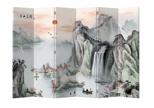 Fine Asianliving Fine Asianliving Kamerscherm Scheidingswand 6 Panelen Bergen Rijzende Zon