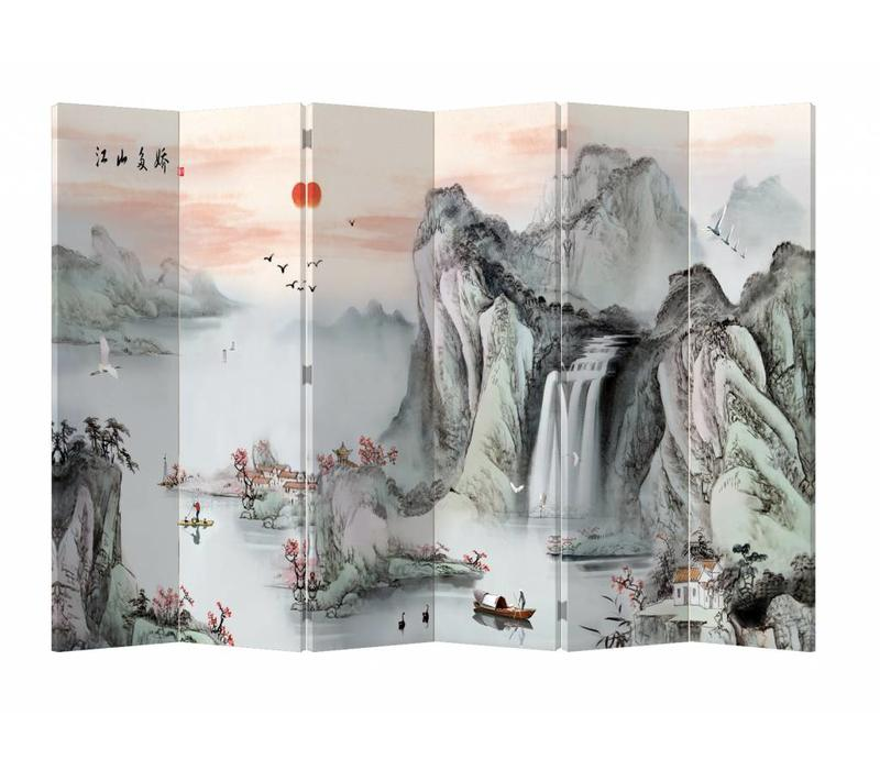 Fine Asianliving Chinese Oriental Room Divider Folding Privacy Screen 6 Panel Mountains Rising Sun L240xH180cm