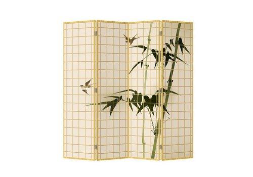 Fine Asianliving Kamerscherm Scheidingswand B160xH180cm 4 Panelen Bamboe Naturel