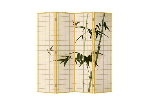 Fine Asianliving Raumteiler Trennwand B160xH180cm 4-teilig Bambus Natürlich