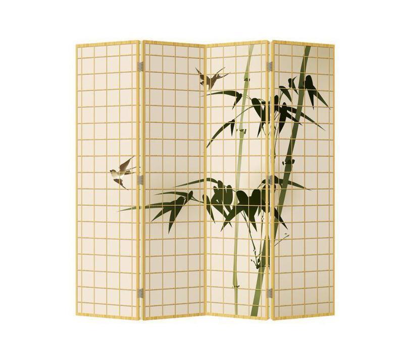 Biombo Separador de Lienzo A160xA180cm 4 Paneles Bambú Natural