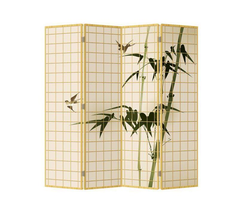 Room Divider Privacy Screen 4 Panels W160xH180cm Bamboo Natural