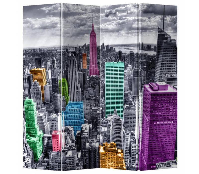 Kamerscherm 4 Panelen Gekleurd New York