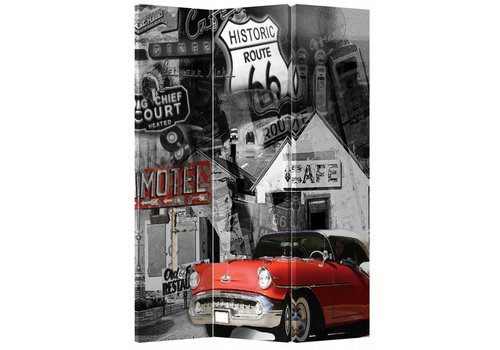 Fine Asianliving PREORDER 04/12/2020 Fine Asianliving Room Divider Privacy Screen 3 Panel Route 66 and Red Car L120xH180cm