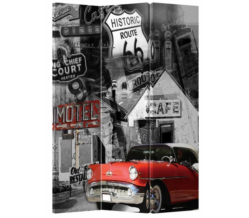 PREORDER 04/12/2020 Fine Asianliving Room Divider Privacy Screen 3 Panel Route 66 and Red Car L120xH180cm