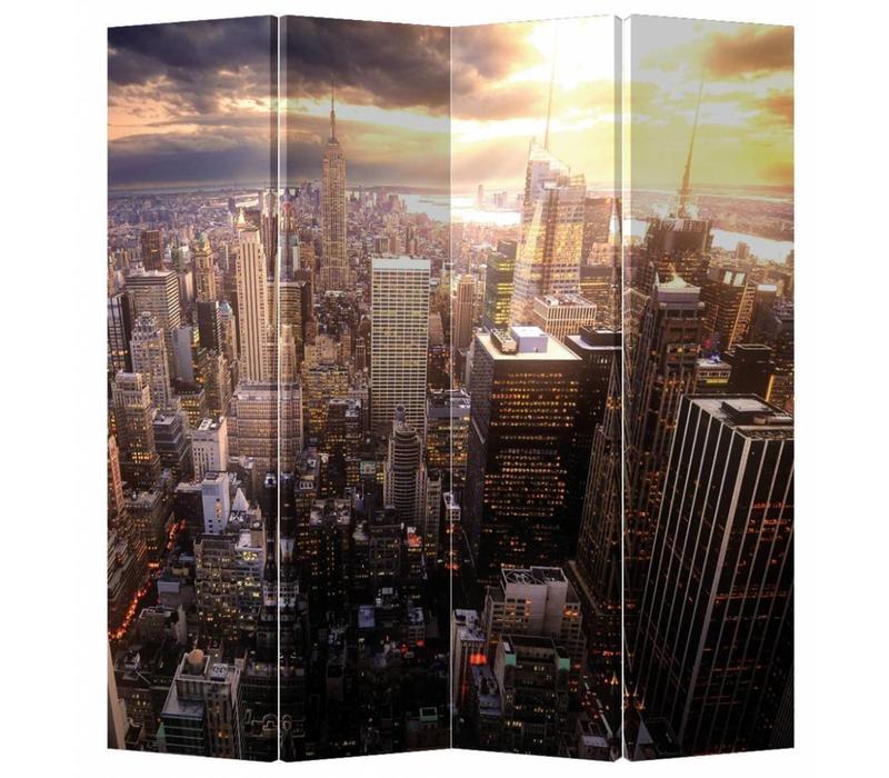 Kamerscherm 4 Panelen Stad bij Zonsondergang