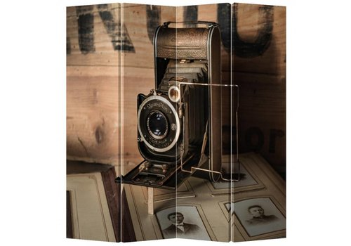Fine Asianliving Fine Asianliving Kamerscherm Scheidingswand 4 Panelen Vintage Camera L160xH180cm
