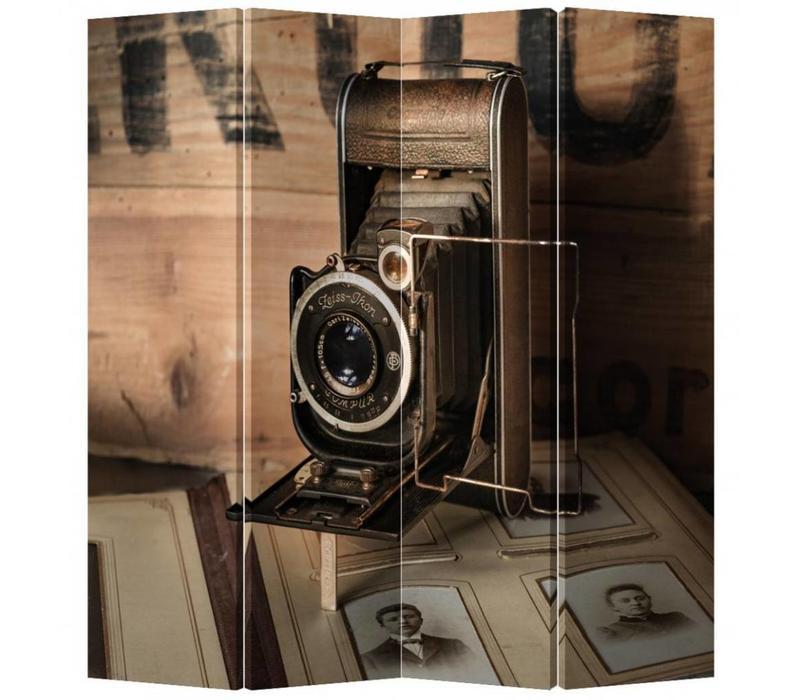 Fine Asianliving Kamerscherm Scheidingswand 4 Panelen Vintage Camera L160xH180cm
