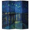 Fine Asianliving Fine Asianliving Kamerscherm Scheidingswand 4 Panelen Van Gogh Sterrennacht boven de Rhone