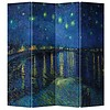 Fine Asianliving Fine Asianliving Room Divider Privacy Screen 4 Panel Van Gogh Starry Night L160xH180cm
