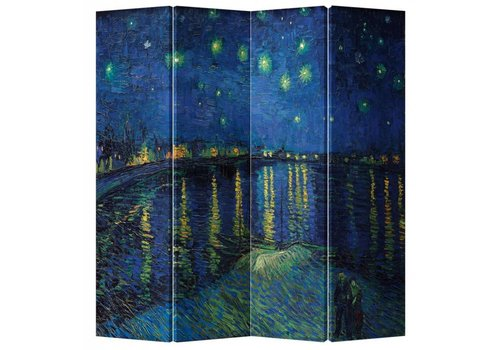 Fine Asianliving Biombo Separador de Lienzo A160xA180cm 4 Paneles Van Gogh La Noche Estrellada