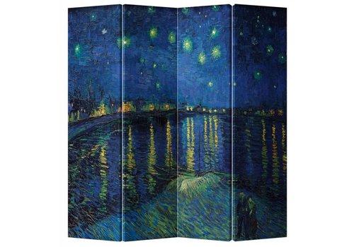 Fine Asianliving Paravent en Toile L160xH180cm 4 Panneaux Van Gogh La Nuit Étoilée
