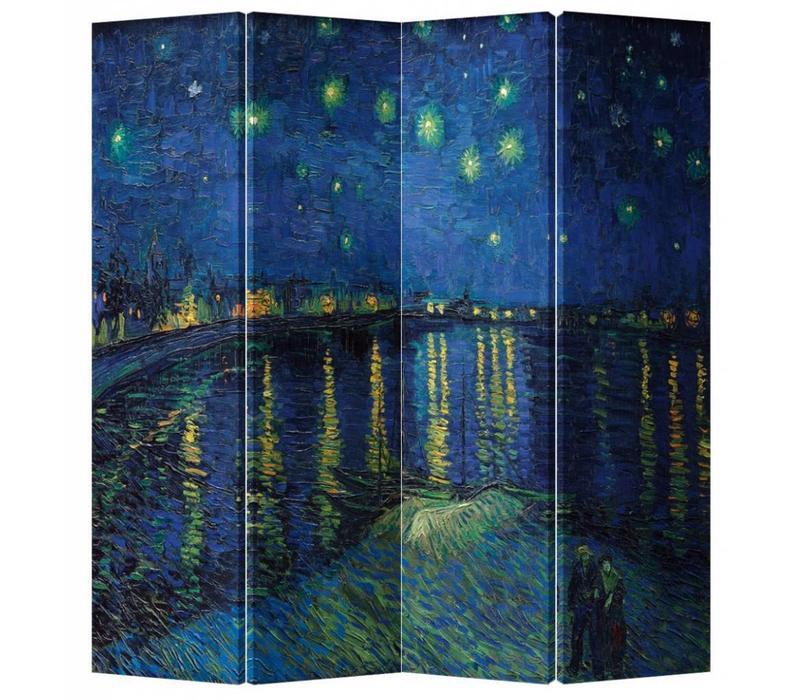Kamerscherm Scheidingswand 4 Panelen Van Gogh Sterrennacht boven de Rhone L160xH180cm