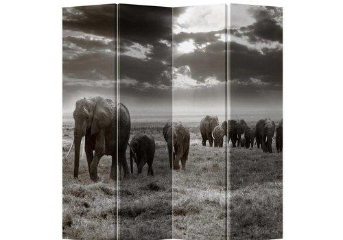 Fine Asianliving Fine Asianliving Room Divider 4 Panel Elephant Black-White L160xH180cm