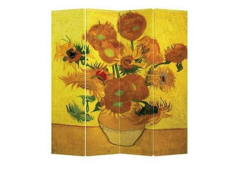 Fine Asianliving Room Divider Privacy Screen 4 Panel Van Gogh Sunflowers