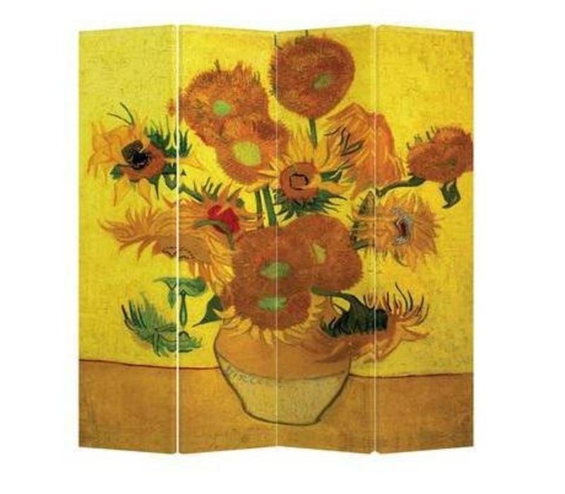 Kamerscherm Scheidingswand B160xH180cm 4 Panelen Van Gogh Zonnebloemen