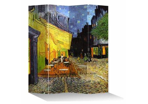Fine Asianliving Fine Asianliving Kamerscherm 4 Panelen Vincent van Gogh Cafeterras bij Nacht L160xH180cm