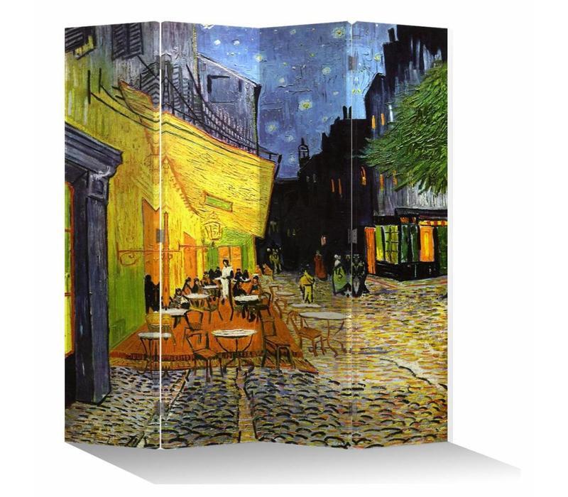 Kamerscherm B160xH180cm 4 Panelen Vincent van Gogh Cafeterras bij Nacht