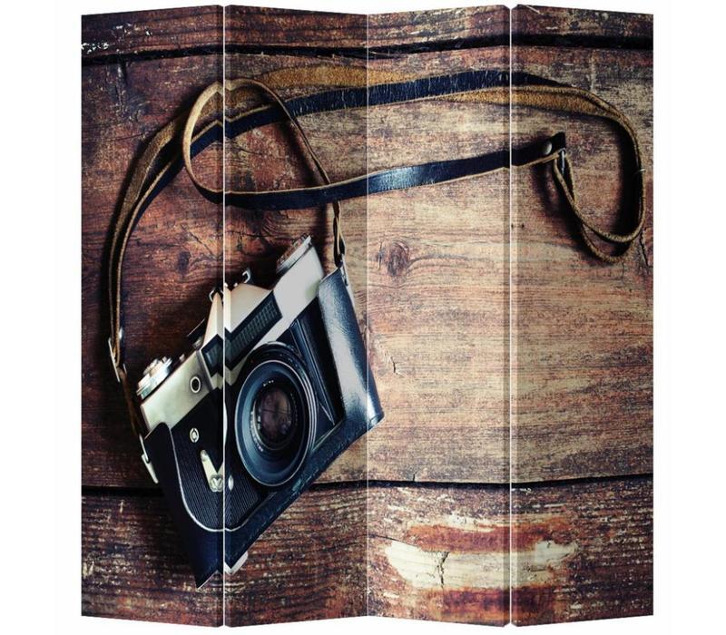 Fine Asianliving Kamerscherm Scheidingswand 4 Panelen Vintage Camera